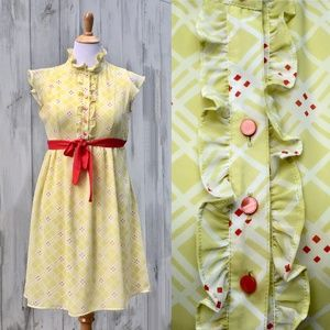 Fossil Vintage Style Yellow Dress